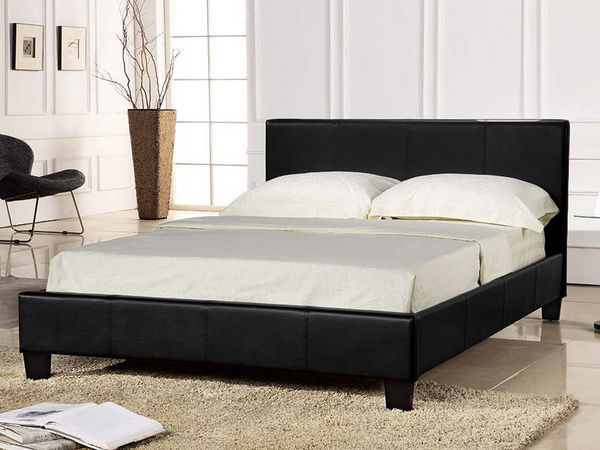 Budget Leather Bed Black
