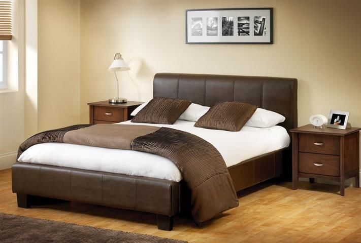 Budget Leather Bed Brown