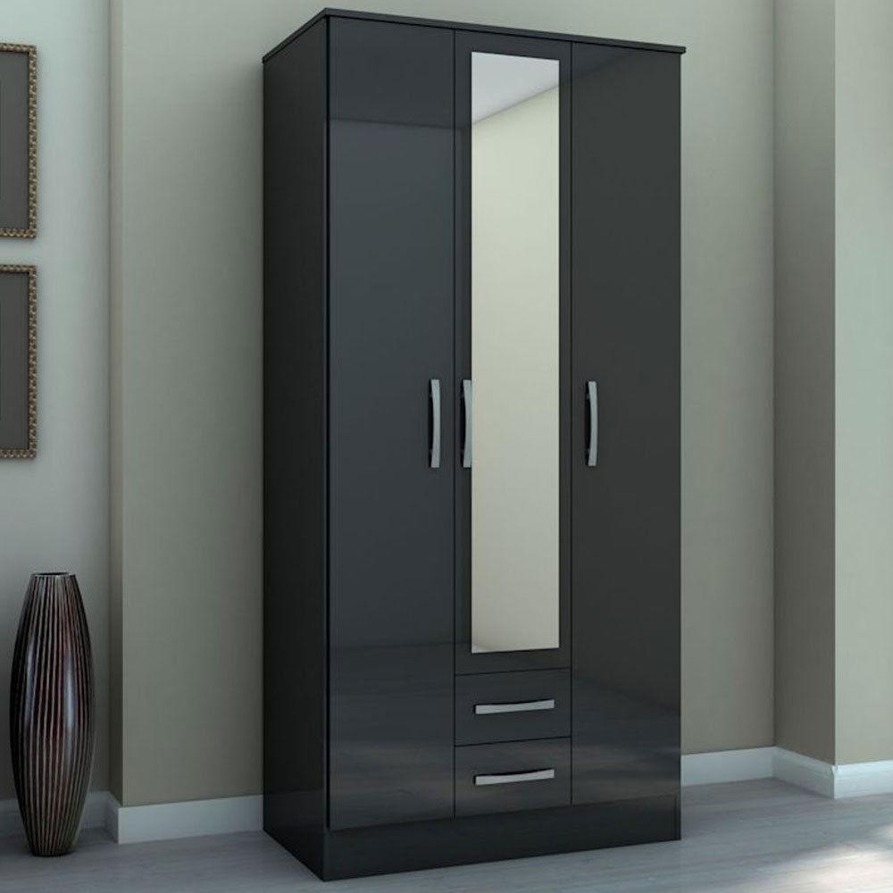 Three Door Combi Wardrobe with Mirror